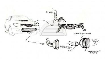 Brake Ducts for Subaru Impreza WRX STi 07-13 GRB Duct Plate Kit 5x114.3 Hub