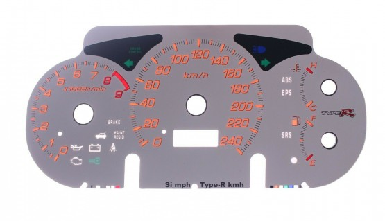 Gauge Faces Type-R Conversion MPH to KMH for Honda Civic EP3 Instrument Cluster