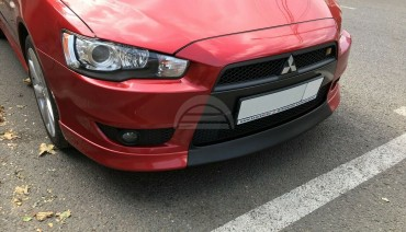 Front Lip for Mitsubishi Lancer X 07-12 3pcs Central Insert V2 + fangs Bumper