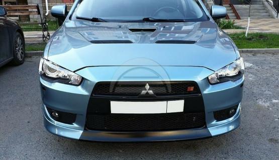 Lip spoiler for Mitsubishi Lancer X 07-12 Central Insert between fangs bumper V2
